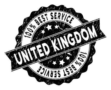 United Kingdom stamp with Best Quality words. Vector black seal imprint imitation with grunge style. Reward vector rubber seal stamp with grunge design for United Kingdom products and services.
