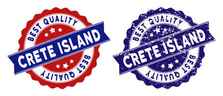 Crete Island stamps with Best Quality words, blue grunge and blue and red clean versions. Vector seal print imitation with grunge surface.  イラスト・ベクター素材