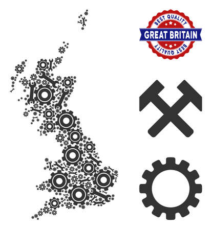 Repair workshop Great Britain map collage of service tools. Abstract territorial plan in gray color and best quality reward. Vector Great Britain map is formed of gear wheels and spanners. Illustration