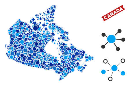 Web Canada map mosaic. Abstract territorial scheme of connections in blue shades. Vector Canada map is constructed of net connections. Concept of provider company. Illustration