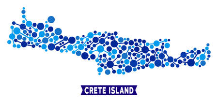 Network Crete Island map mosaic. Abstract territory plan of relations in blue color tints. Vector Crete Island map is composed of network connections. Concept of internet ditributor.