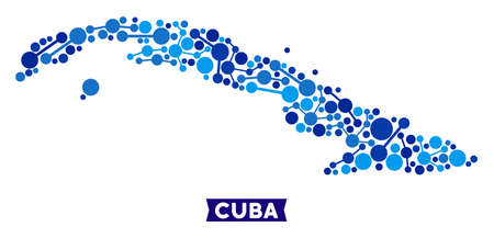 Network Cuba map composition. Abstract geographic scheme of links in blue color hues. Vector Cuba map is done of network connections. Concept of hosting service. Ilustracja