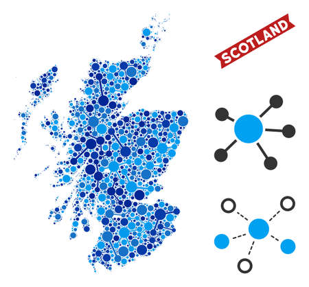 Network Scotland map mosaic. Abstract territory scheme of links in blue color hues. Vector Scotland map is created from network links. Concept of hosting ditributor. Illustration