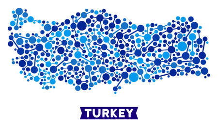 Web Turkey map composition. Abstract territorial scheme of links in blue shades. Vector Turkey map is composed of internet links. Concept of provider ditributor. Illustration