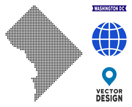 Dot Washington DC map. Vector territory plan in dark gray color. Dots have rhombic shape.