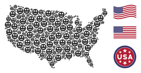 Smile symbols are combined into United States map stylization. Vector composition of American geographical map is designed of smile items. Designed for political and patriotic applications.