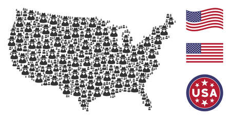 Spy pictograms are arranged into American map stylization. Vector concept of American territorial map is designed with spy items. Designed for political and patriotic agitprop.