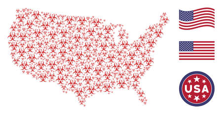 Biohazard icons are combined into United States map collage. Vector collage of American territory map is composed from biohazard items. Designed for political and patriotic purposes. Illustration