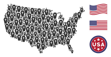 Coffin icons are combined into American map stylization. Vector collage of America geographical map is combined from coffin items. Designed for political and patriotic promotion.