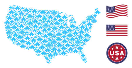 Component icons are arranged into United States map collage. Vector collage of American territorial map is composed from component elements. Designed for political and patriotic promotion.
