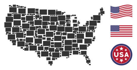 Filled rectange symbols are organized into American map abstraction. Vector composition of American geographic map is organized of filled rectange items. Designed for political and patriotic collages.