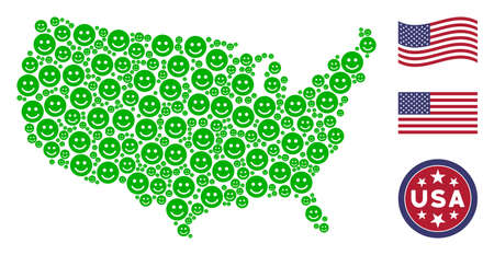 Glad smile items are organized into USA map collage. Vector concept of American geographic plan is organized of glad smile items. Designed for political and patriotic posters.
