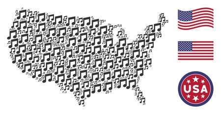 Music notes items are composed into American map mosaic. Vector collage of American geographical map is combined with music notes items. Designed for political and patriotic doctrines.