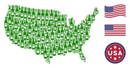 Wine bottle pictograms are organized into American map abstraction. Vector composition of American geographic plan is designed of wine bottle items. Designed for political and patriotic promotion.