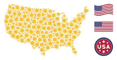 Six pointed star items are grouped into USA map stylization. Vector collage of American territorial map is constructed of six pointed star items. Designed for political and patriotic doctrines.
