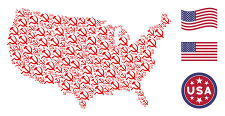 Sickle and hammer pictograms are organized into USA map collage. Vector collage of American territory plan is organized of sickle and hammer items. Designed for political and patriotic promotion.