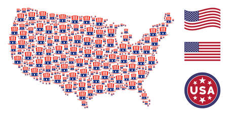 Uncle Sam hat symbols are organized into USA map mosaic. Vector concept of American territory map is formed of Uncle Sam hat items. Designed for political and patriotic applications. Stock Photo