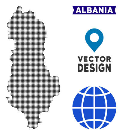 Dot Albania map. Vector territorial map in dark gray color. Dots have rhombic shape. Illustration