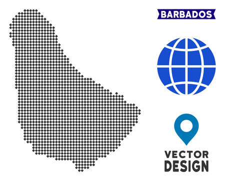 Dot Barbados map. Vector geographical scheme in dark gray color. Points have rhombus form.