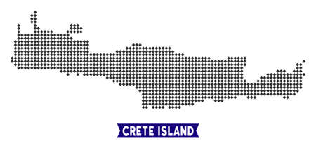 Dot Crete Island map. Vector geographical plan in dark gray color. Pixels have rhombic form.