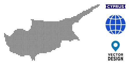 Dot mappa dell'isola di Cipro. Piano geografico vettoriale in colore grigio scuro. I punti hanno forma rombica.