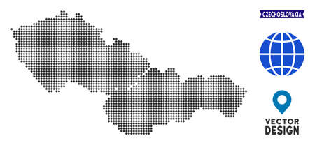 Dot Czechoslovakia map. Vector territory scheme in dark gray color. Dots have rhombus shape. Çizim