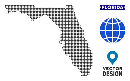 Dot Florida map. Vector territory map in dark gray color. Dots have rhombic form. Illustration