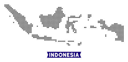 Dot Indonesia map. Vector territory map in dark gray color. Pixels have rhombic shape.