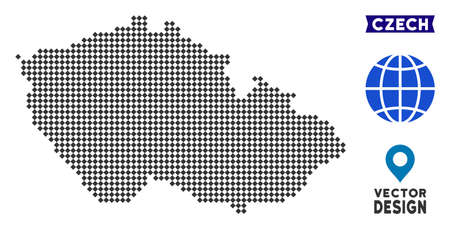 Dot Czech map. Vector territorial plan in dark gray color. Dots have rhombus shape.