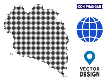 Dot Koh Phangan Thai Island map. Vector territory scheme in dark gray color. Pixels have rhombus form. Stock Vector - 114770424