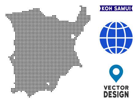 Dot Koh Samui map. Vector territory plan in dark gray color. Dots have rhombic shape. Illustration