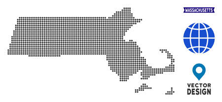 Dot Massachusetts State map. Vector territorial plan in dark gray color. Points have rhombus form.
