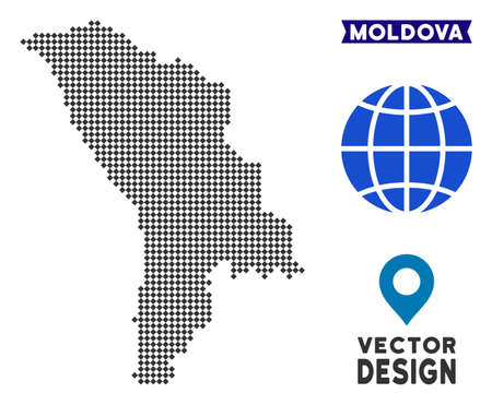 Dot Moldova map. Vector territory plan in dark gray color. Points have rhombic form.