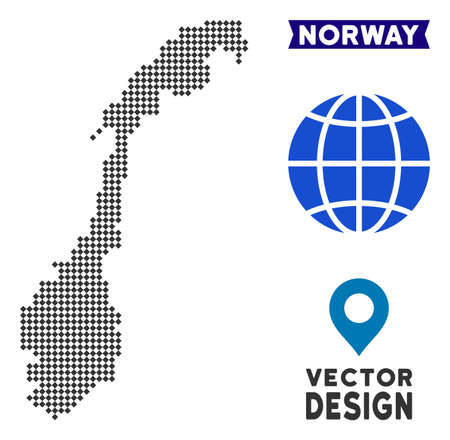 Dot Norway map. Vector territory map in dark gray color. Dots have rhombic shape.