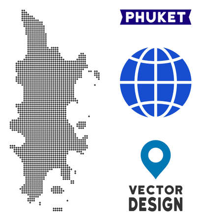 Dot Phuket map. Vector territory scheme in dark gray color. Points have rhombus form. Illustration