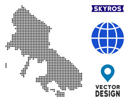 Dot Skyros Greek Island map. Vector territory map in dark gray color. Dots have rhombic form.