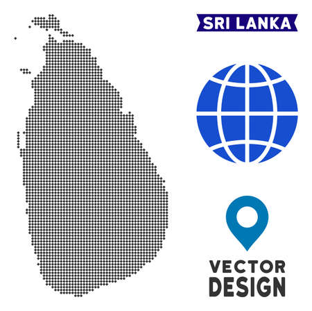 Dot Sri Lanka Island map. Vector territorial scheme in dark gray color. Points have rhombus shape.