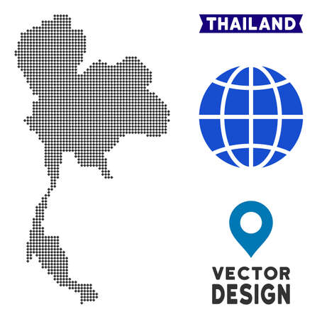 Dot Thailand map. Vector territorial map in dark gray color. Points have rhombus form. Иллюстрация