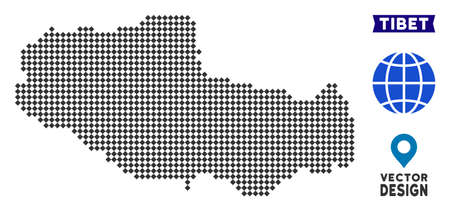 Dot Tibet Chinese territory map. Vector geographical scheme in dark gray color. Pixels have rhombic form.