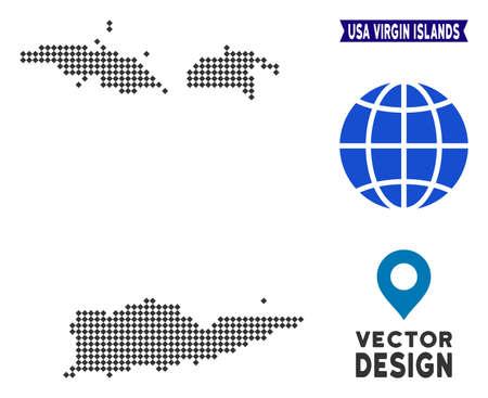 Dot USA Virgin Islands map. Vector territory scheme in dark gray color. Points have rhombus shape.