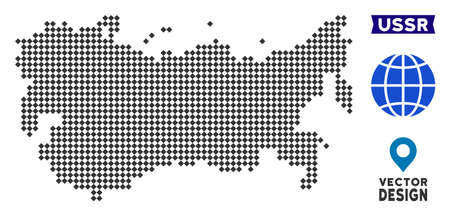 Dot USSR map. Vector territory scheme in dark gray color. Points have rhombus shape.  イラスト・ベクター素材