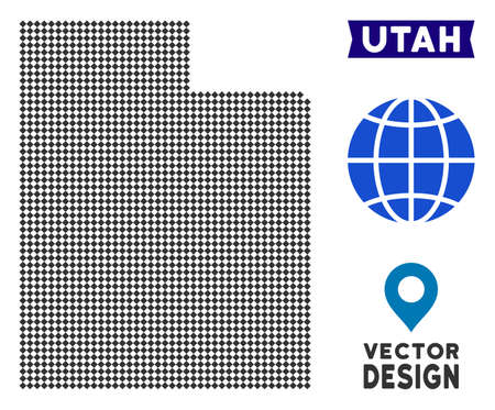 Dot Utah State map. Vector territorial scheme in dark gray color. Points have rhombic shape.