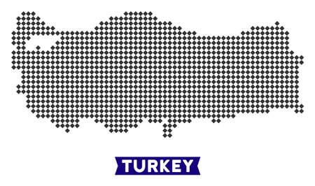 Dot Turkey map. Vector territory scheme in dark gray color. Pixels have rhombic shape.
