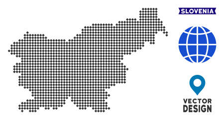 Dot Slovenia map. Vector territory map in dark gray color. Pixels have rhombic form. 스톡 콘텐츠