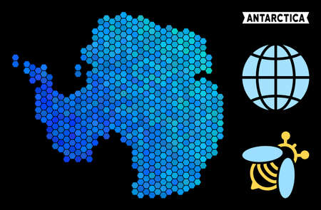 Blue Hexagon Antarctica map. Geographic map in blue color tints on a black background. Vector composition of Antarctica map constructed of honey comb elements. Ilustrace