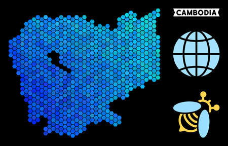 Blue Hexagon Cambodia map. Geographic map in blue color tones on a black background. Vector concept of Cambodia map done of hexagon items.