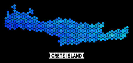 Blue Hexagon Crete Island map. Geographic map in blue color tints on a black background. Vector concept of Crete Island map organized of hexagon pixels.
