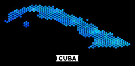 Hexagon Blue Cuba map. Geographic map in blue color tints on a black background. Vector concept of Cuba map created of hexagon dots.