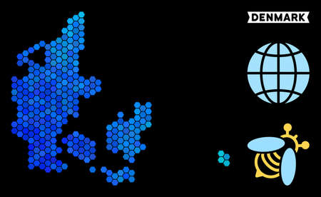 Hexagon Blue Denmark map. Geographic map in blue color tints on a black background. Vector pattern of Denmark map composed of hexagon elements. Illustration