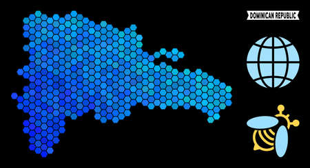 Hexagon Blue Dominican Republic map. Geographic map in blue color tints on a black background. Vector collage of Dominican Republic map organized of hexagon items. Ilustração
